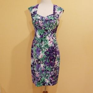 Dresses & Skirts - Purple & Green Floral Sleeveless Sheath Dress Sz 8